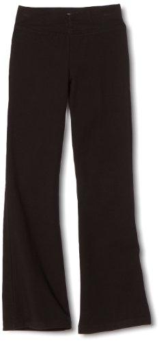 Danskin Big Girls' Shirred Waist Bootleg Pant, Black, Large (12-14)