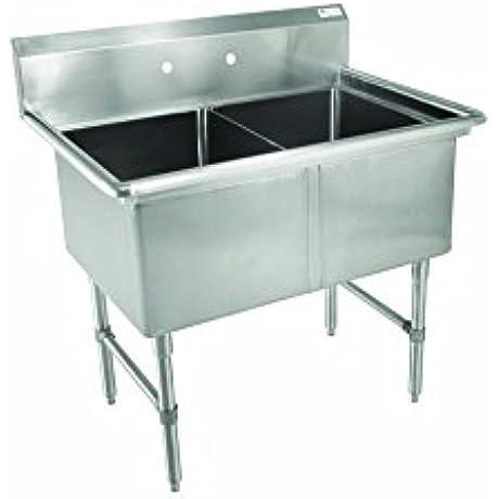 John Boos 2B244 B Series 2 Compartment Stainless Steel Sink No Drain Board 24 X 24 X 14 Bowl