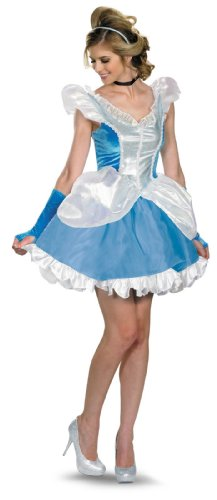 Disguise Disney Deluxe Sassy Cinderella Costume, Blue/White, Small/4-6 (Adult Cinderella Dress)