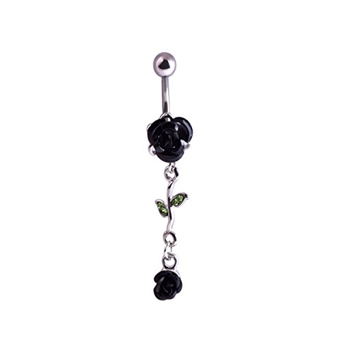 Black Rose Belly Button Ring (JoinLove Navel Rings Black Rose Flower 316L Dangle Body Piercing Jewelry for Women Curved Barbell Body Piercing)