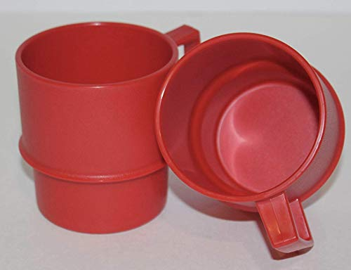 Tupperware Set of 2 Vintage Red Stackable 10 Ounce Coffee Cup Mugs