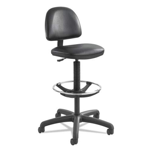 Precision Extended Height Swivel Stool W/adjustable Footring, Black Vinyl By: Safco