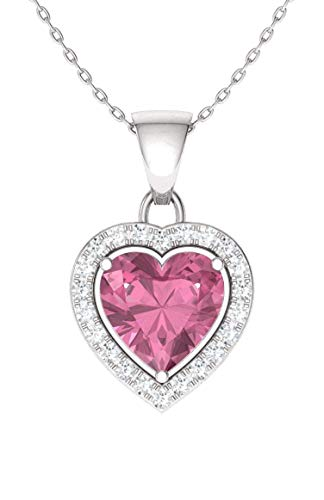 Pink Gold Diamond Pendant - Diamondere Natural and Certified Pink Tourmaline and Diamond Heart Necklace in 14k White Gold | 0.57 Carat SI1-SI2 Quality Necklace with Chain