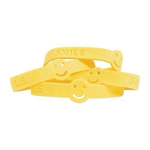 Fun Express 12 ~ Smile Face Rubber Bracelets ~ Approx. 7.5