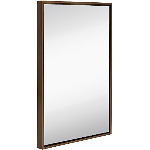 Clean Large Modern Copper Frame Wall Mirror | Contemporary Premium Silver Backed Floating Glass Panel | Vanity, Bedroom, or Bathroom | Mirrored Rectangle Hangs Horizontal or - Frames Mirror Copper