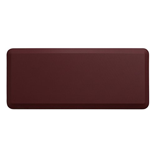 """NewLife by GelPro Anti-Fatigue Designer Comfort Kitchen Floor Mat, 20x48"""", Leather Grain Cranberry Stain Resistant Surface with 3/4"""" Thick Ergo-foam Core for Health and Wellness by NewLife by GelPro"""