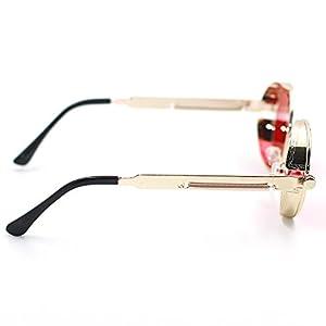 ProudDemon Retro Gothic Steampunk Sunglasses for Women Men Round Lens Metal Frame Gold Red