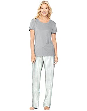 Hanes Ultimate Women's Tee/Pants Sleep Set, Morning Stripes/Light Hear Grey, XL