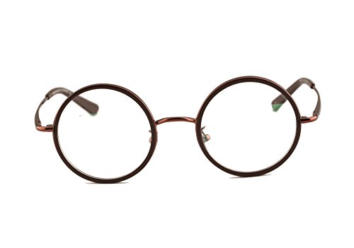 Agstum Vintage Retro Small Round Prescription Optical Eyeglass Frame (Coffee, - Prescription Glasses Small