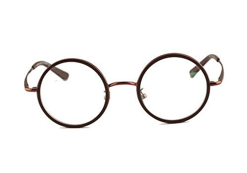 Agstum Vintage Retro Small Round Prescription Optical Eyeglass Frame (Coffee, - Prescription Small Glasses