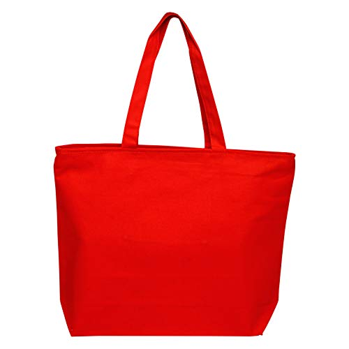 Heavy Canvas Large Tote Bag with Zippered Closure for Beach, Grocery Shopping, Travel by TBF Bags (Red, 2)