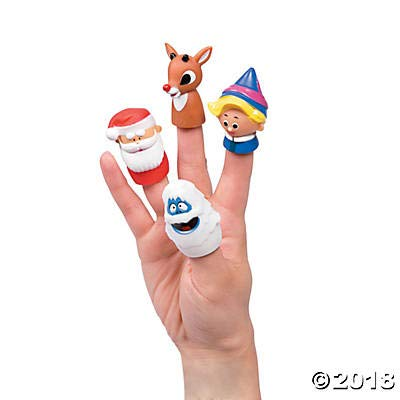Christmasville Deluxe Rudoplh The Red Nose Reindeer Finger Puppets and Pals - Hermey The Elf, Bumble The Abominable Snow Monster, Santa Claus and, of Course, Rudolph Himself