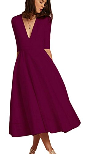1 Deep Red Sleeve Domple Neck Womens Dress Swing Stylish Wine V 2 Pleated Cocktail Un6pX