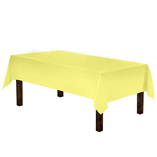 Gee Di Moda Rectangle Tablecloth - 60 x 84 Inch - Yellow Rectangular Table Cloth in Washable Polyester - Great for Buffet Table, Parties, Holiday Dinner, Wedding & More