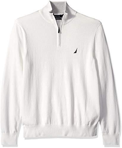 Nautica Men's Long Sleeve 1/4 Zip Sweater, Marshmallow, (Nautica 1/4 Zip Sweater)