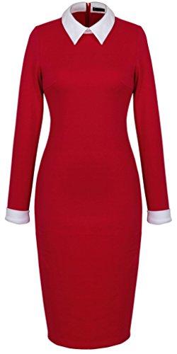 Donna matita Elegante 751 Lapel carriera Vestito HOMEYEE Rosso HPSwzz