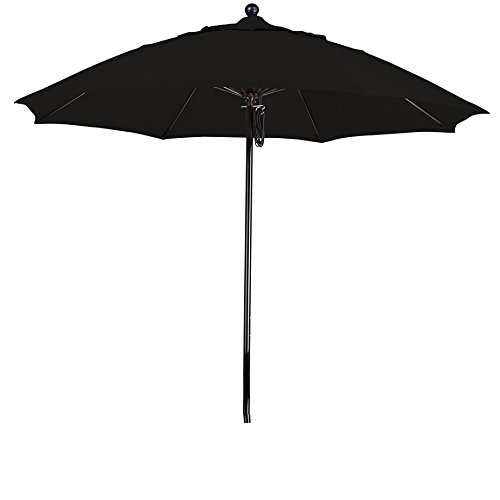 California Umbrella 9' Round 100% Fiberglass Frame Market Umbrella, Push Lift, Black Pole, Sunbrella Black Fabric