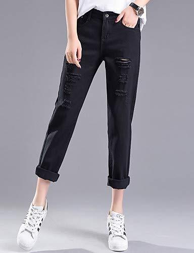 YFLTZ Street Femme Chic Pantalon Couleur pour Unie Black Jeans EqrUXE