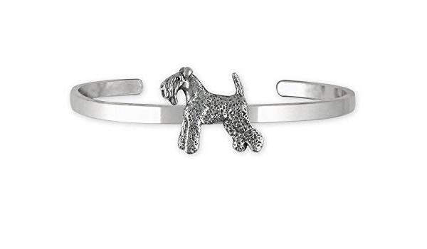 Kerry Blue Terrier Jewelry Sterling Silver Handmade Kerry Blue Terrier Key Ring  KB1-KRE