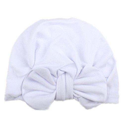 (Leoy88 Newborn Hospital Hat Headband Infant Cap Big Bow Knot Nursery Beanie (White))