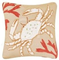 C F Enterprises Sandpiper Cove Square Crab Pillow