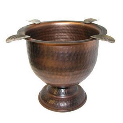 Stinky Cigar 4 Stirrup Tall Ashtray, Deep Bowl Design, Antique Hammered Copper ()
