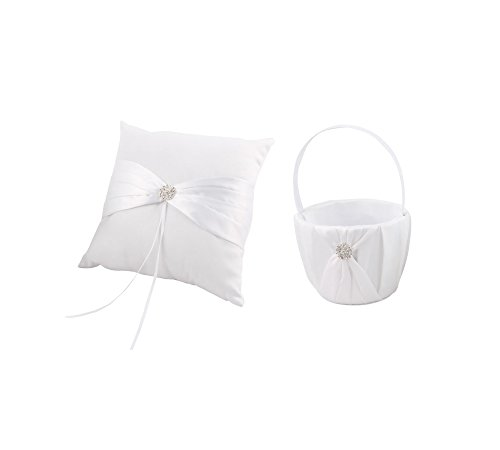Antrader Romantic Satin Butterfly Knot Decor Petals Storage Flower Container Basket Ring Pillow Set for Wedding Anniversary Celebrations Party Decoration (White) ()