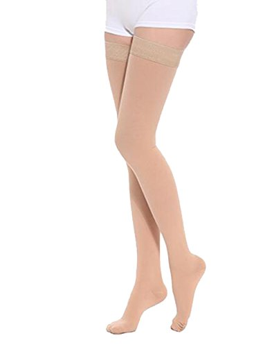 Thigh High Compression Stockings, Opaque, Firm Support 20-30 mmHg Gradient Compression with Silicone Band, TOFLY Closed Toe Compression Stockings, Treatment Swelling, Varicose Veins, Edema, Beige XXL