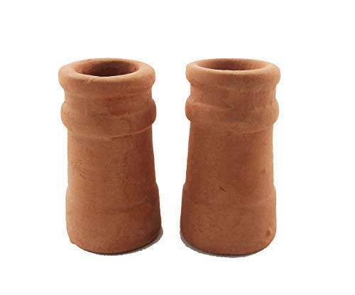 Melody Jane Dollhouse Round Chimney Pots Terracotta Large 1:12 Scale