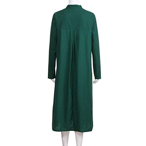 Long Long Green Thin Holywin Maxi Coat Sleeve Button Cotton Cardigan Women wggqOtR