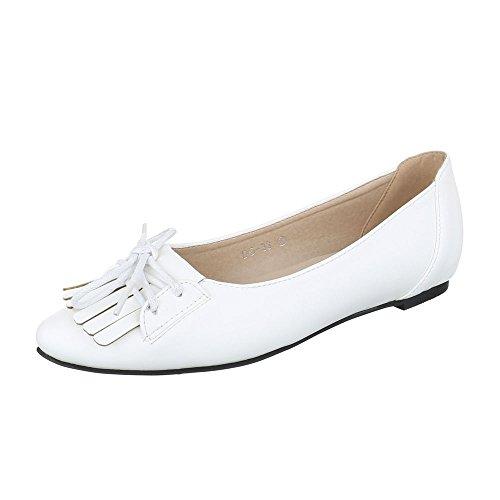 Ital-Design Bailarinas Mujer, Color Blanco, Talla 38