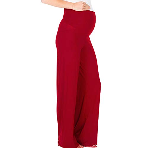 Cegduyi Women Maternity Comfort High Waisted Tummy Pants Pregnancy Solid Trousers