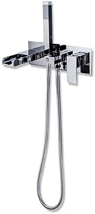 浴槽の蛇口 ハンドシャワー浴室の蛇口モダンなデザインのウォールマウントバスタブ蛇口滝タブフィラースパウト (色 : Silver, Size : Free size)