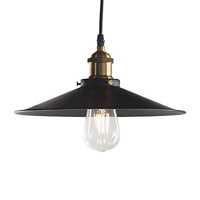 Pendant Light Industrial, Metal Edison Hanging Light, Vintage/Modern, E26 Base, for Dining Room, Living Room, Warehouse, Farmhouse(1 Light, Flat Black)