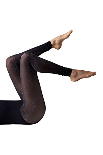 Gipsy Footless Glitter Tights-Black/Silver-One ()