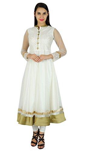 Bimba Women Classy Net Anarkali Kurta Kurti Long Bridal Maxi Indian Custom Dress