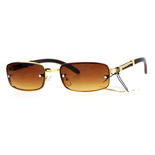 Rimless Look Rectangle Sunglasses Unisex Vintage Design Fashion Gold, Light - Men Design Sunglasses For