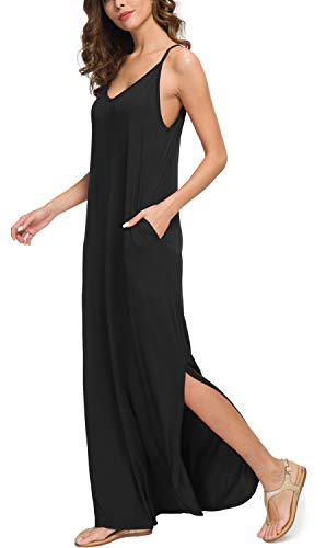 GRECERELLE Women's Summer Casual Loose Dress Beach Cover Up Long Cami Maxi Dresses with Pocket Black-M