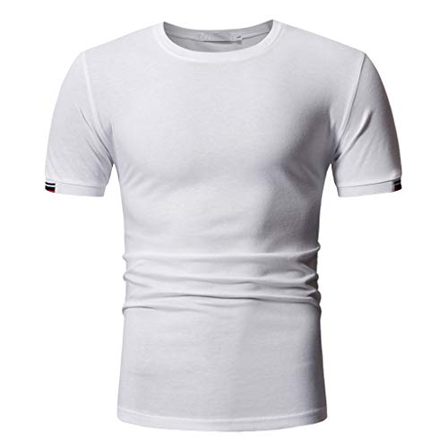 Mens Solid Color Short Sleeve T-Shirts Top Compression Baselayer Athletic Workout T Shirts White