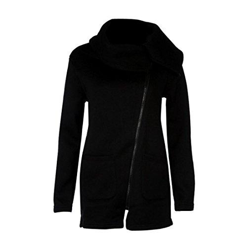 Hot Sale!Elevin(TM)Womens Casual Hooded Jacket Coat Long Zipper Top Sweatshirt Outwear (L, Black)