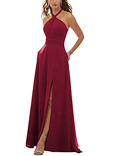 Stylefun Women's Halter Bridesmaid Dresses Slit 2019 Formal Prom Evening Party Gowns with Side Pockets 16 Burgundy