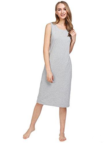 Latuza Women's Cotton Sleeveless Nightgown Long Nightshirt XL Light (Cotton Sleeveless Nightgown)