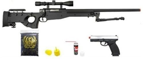 well l96 bolt action airsoft sniper rifle hfc metal gas blowback pistol combo pk(Airsoft Gun)