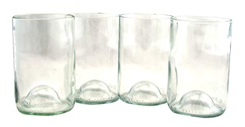 Tumblers Drinking Glasses Made From Recycled Wine Bottles 12 Oz - set of 4 (Clear With Punt, 12 Oz) ()