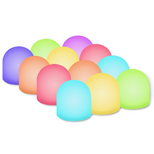 Novelty Place Color Changing Mini Nightlight, Multicolor LED Mood Lighting - Night Light for Kid's Bedroom, Bathroom, Living Room - Battery Powered (Pack of 12) ()