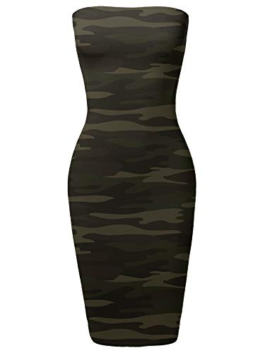 Camouflage Ladies - Made by Emma Super Sexy Tube Top Bodycon Vertical Strips Midi Dress Dark Camo Green S