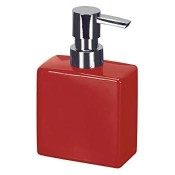 Modern Porcelain Bathroom Liquid Soap Dispenser 10oz Short Luxury Bathroom Flash Soap Dispenser Red