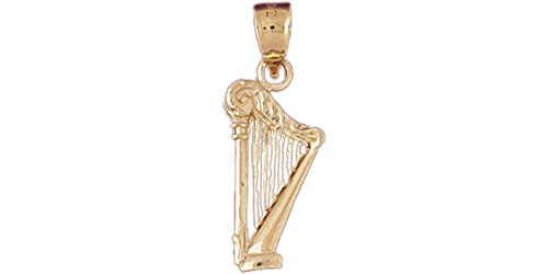 14k Yellow Gold Harp Pendant (10.5mm x 18.5mm)