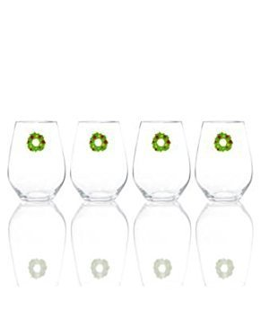 Martha Stewart Collection Set of 4 Holiday in the City Stemless Wine (Winterberry Bouquet)
