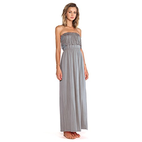 Bobi Los Angeles Supreme Jersey Knit Fringe Maxi - Womens Dress Bobi